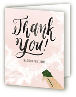This is a pink wedding thank you card by Pink House Press called Fancy Brunch with foil-pressed printing on strathmore in standard.