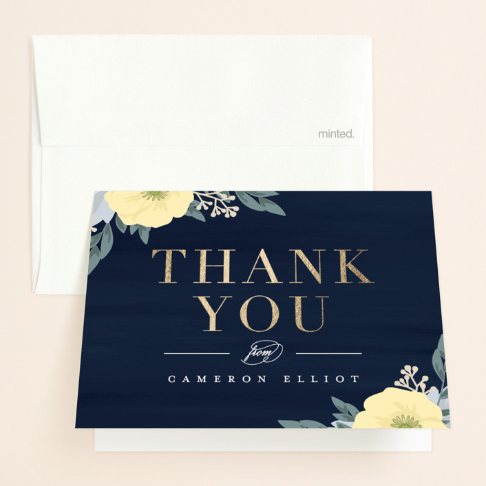 """""""Blooming Shower"""" - Foil-pressed Bridal Shower Thank You Cards in Navy by Carolyn MacLaren."""