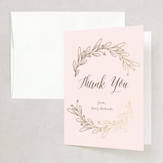 Bridal Wreath Foil-Pressed Bridal Shower Thank You Cards