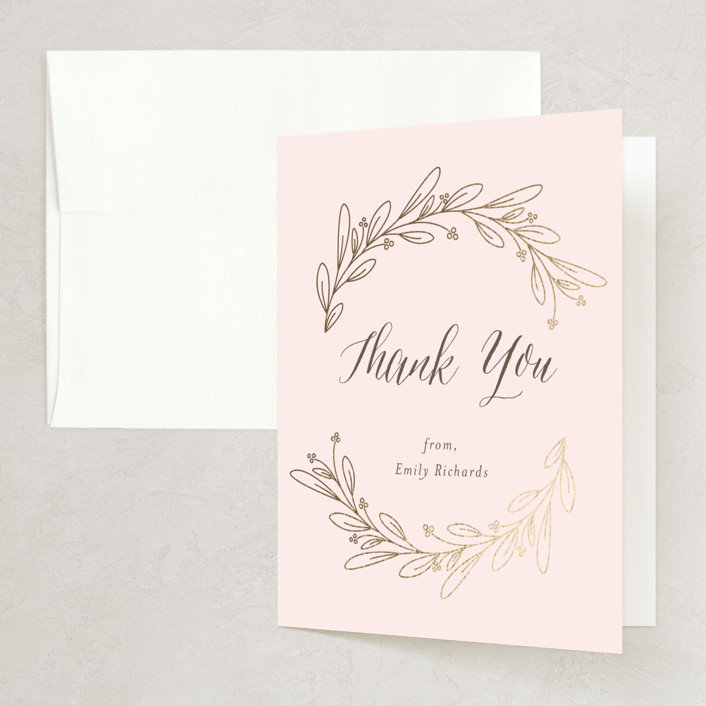 """Bridal Wreath"" - Foil-pressed Bridal Shower Thank You Cards in Blush by Shirley Lin Schneider."