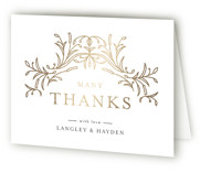 This is a black wedding thank you card by Melanie Kosuge called DUO with foil-pressed printing on strathmore in standard.