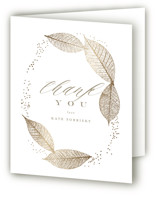 This is a brown wedding thank you card by Lori Wemple called Sparkly Leaves with foil-pressed printing on strathmore in standard.