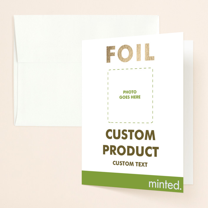 """""""Portrait"""" - Foil-pressed Bridal Shower Thank You Cards in Golden by Minted Custom."""