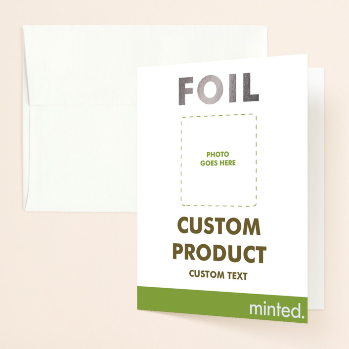 """""""Portrait"""" - Foil-pressed Bridal Shower Thank You Cards in Gold by Minted Custom."""