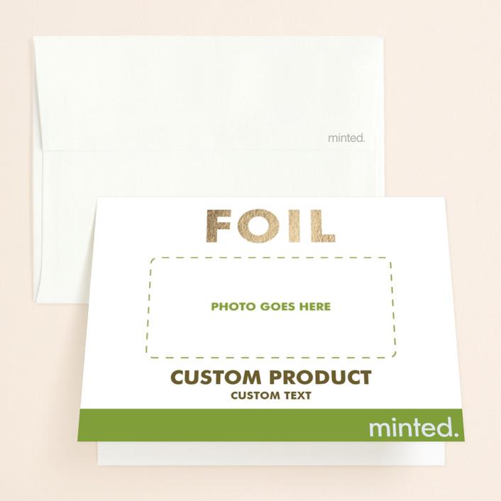 """Landscape"" - Foil-pressed Bridal Shower Thank You Cards in Golden by Minted Custom."