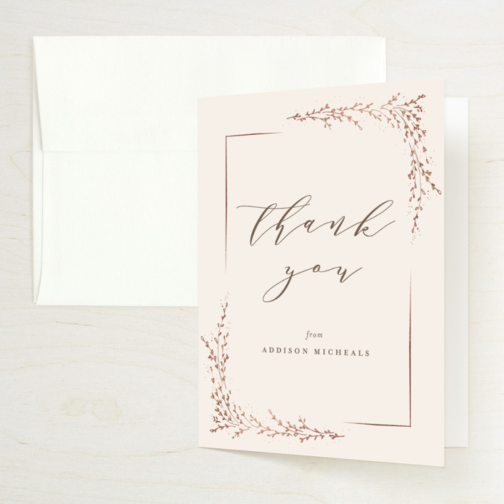 """""""positano"""" - Foil-pressed Bridal Shower Thank You Cards in Champagne by chocomocacino."""