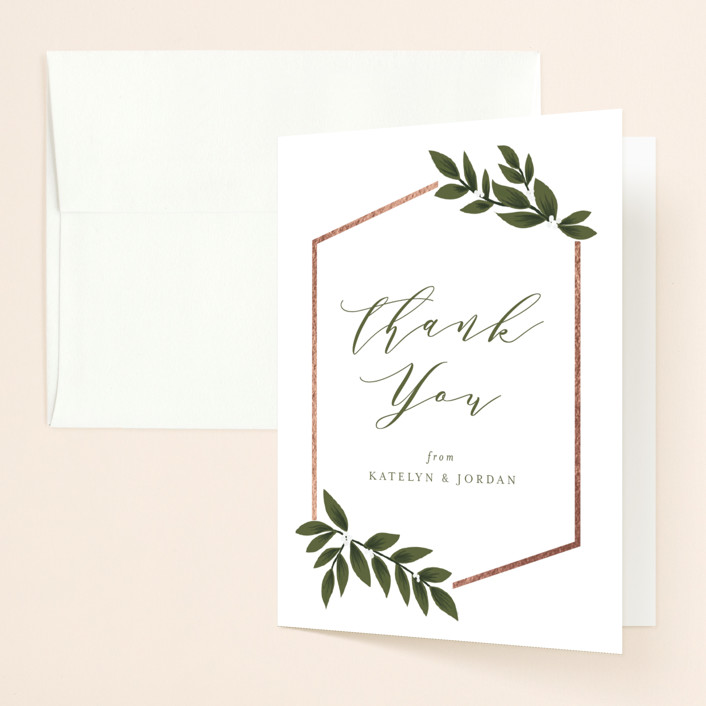 """""""Laurels Frame"""" - Foil-pressed Bridal Shower Thank You Cards in Greenery by Itsy Belle Studio."""