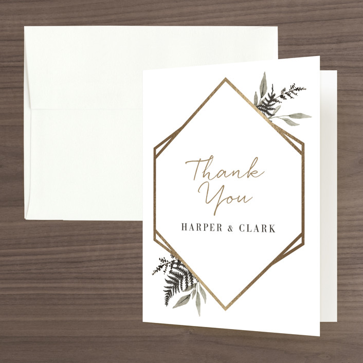 """""""Shade Garden"""" - Foil-pressed Bridal Shower Thank You Cards in Ink by Robin Ott."""