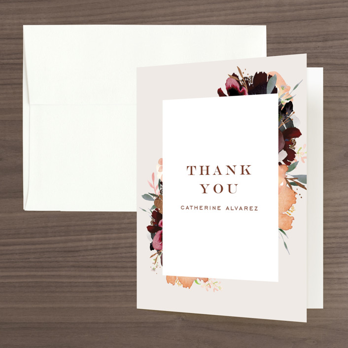"""""""harvest"""" - Foil-pressed Bridal Shower Thank You Cards in Eggshell by Leah Bisch."""