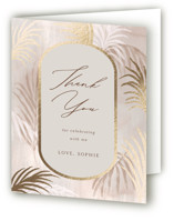 This is a brown wedding thank you card by Elly called Palm Springs with foil-pressed printing on strathmore in standard.