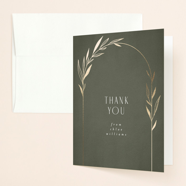 """""""Botanical Arches"""" - Bohemian Foil-pressed Bridal Shower Thank You Cards in Moss by Kelly Schmidt."""