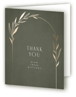 This is a green wedding thank you card by Kelly Schmidt called Botanical Arches with foil-pressed printing on strathmore in standard.