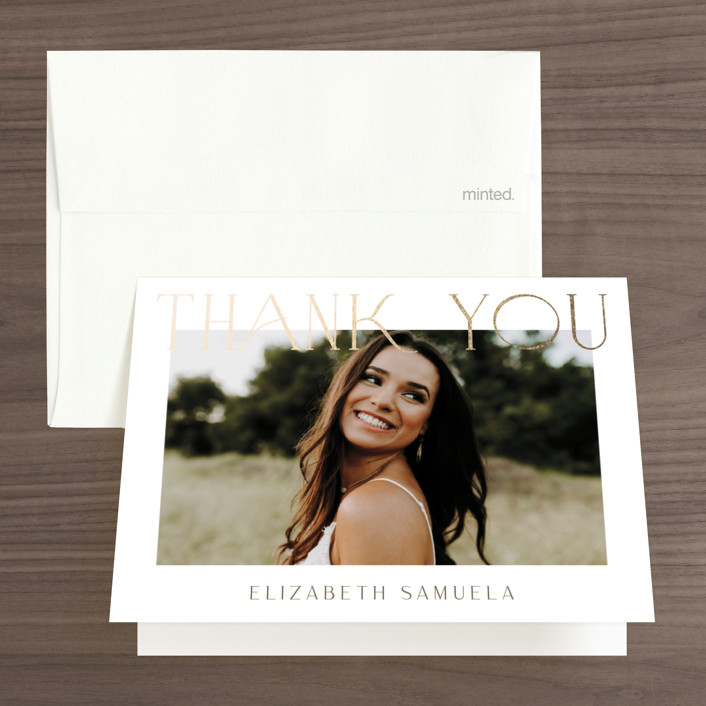 """""""Modern Take"""" - Foil-pressed Bridal Shower Thank You Cards in Snow by Yaling Hou Suzuki."""