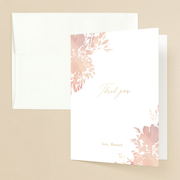 """""""Floral Champagne"""" - Foil-pressed Bridal Shower Thank You Cards in Blushing by Itsy Belle Studio."""