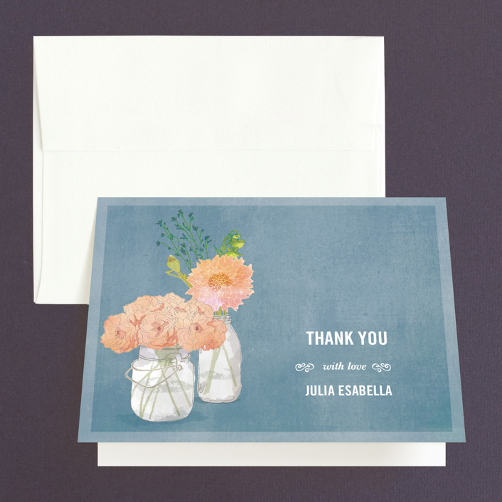 """""""Bouquet D'Amour"""" - Rustic Bridal Shower Thank You Cards in blue by Beth Ann."""
