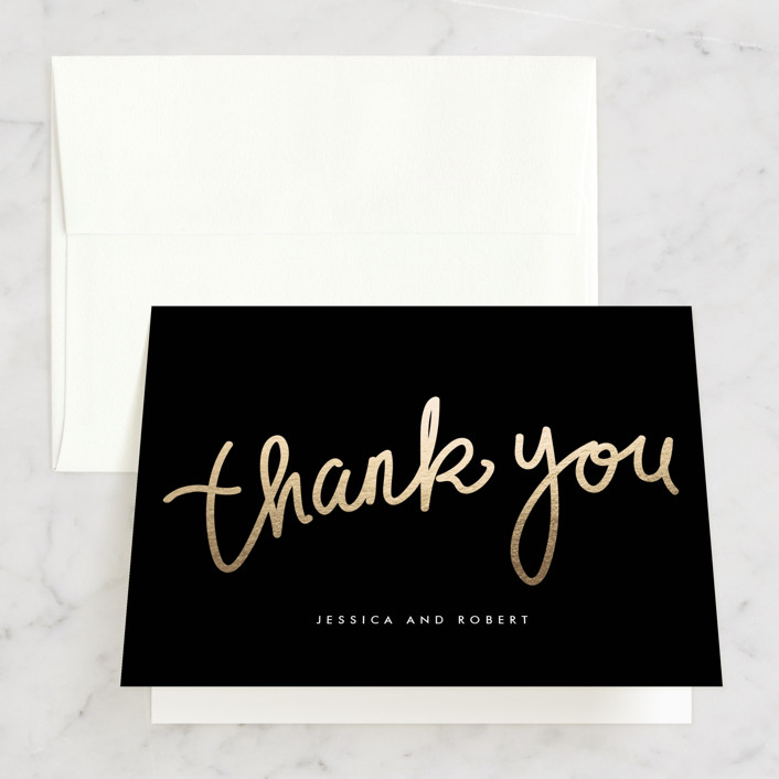 """""""Charlemagne"""" - Simple, Formal Bridal Shower Thank You Cards in black by chocomocacino."""
