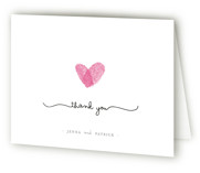 This is a pearl bridal shower thank you card by Angelene called Fingerprint Heart with standard printing on strathmore in standard.