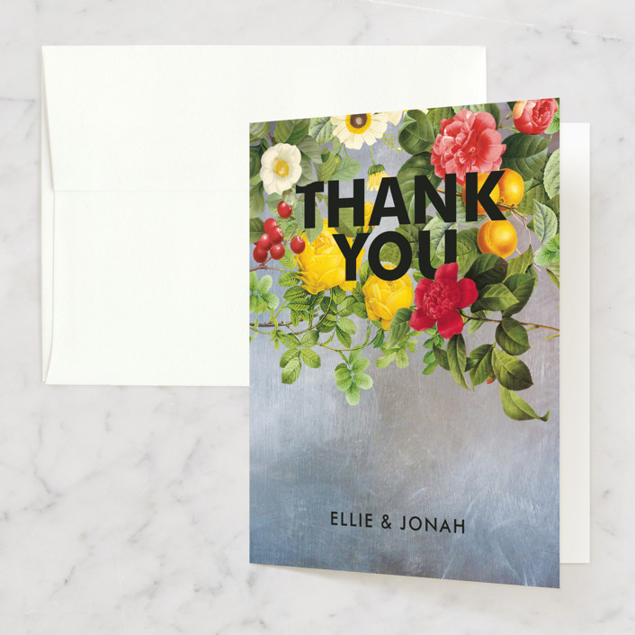 """Flora"" - Bridal Shower Thank You Cards in blue by Susie Allen."