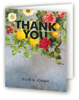 This is a navy bridal shower thank you card by Susie Allen called Flora with standard printing on strathmore in standard.