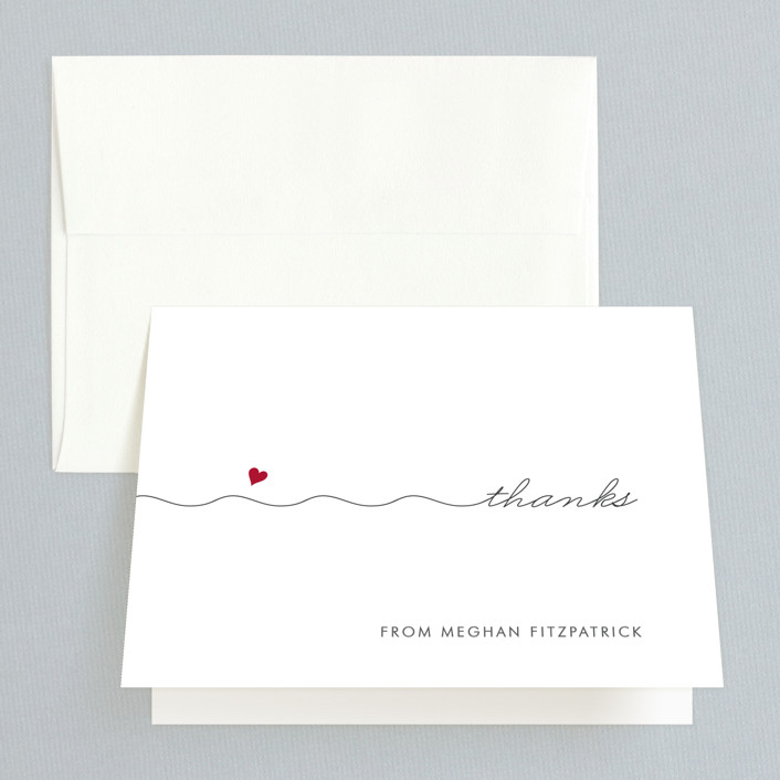 """""""Love Connection"""" - Whimsical & Funny Bridal Shower Thank You Cards in red by Kim Dietrich Elam."""
