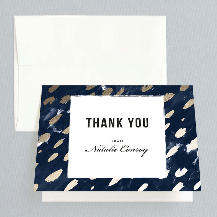 """Midnight And Gold"" - Bohemian Bridal Shower Thank You Cards in Midnight by Papernoten."
