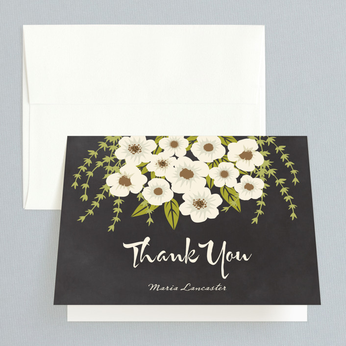 """""""Plentiful Blossoms"""" - Bridal Shower Thank You Cards in black_and_white by Faiths Designs."""