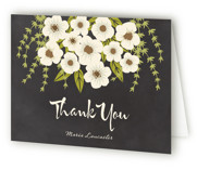 This is a ivory bridal shower thank you card by Faiths Designs called Plentiful Blossoms with standard printing on strathmore in standard.