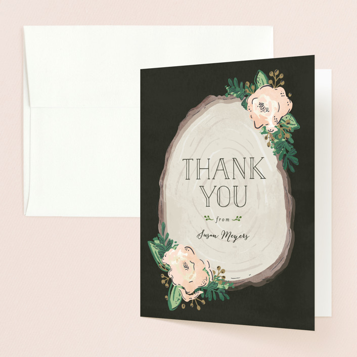 """""""Rustic Wooded Romance"""" - Rustic Bridal Shower Thank You Cards in pink by Pistols."""