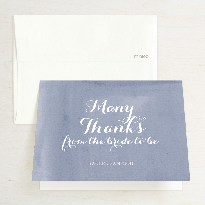 """""""Simply Baby"""" - Modern Bridal Shower Thank You Cards in Lilac by Penelope Poppy."""