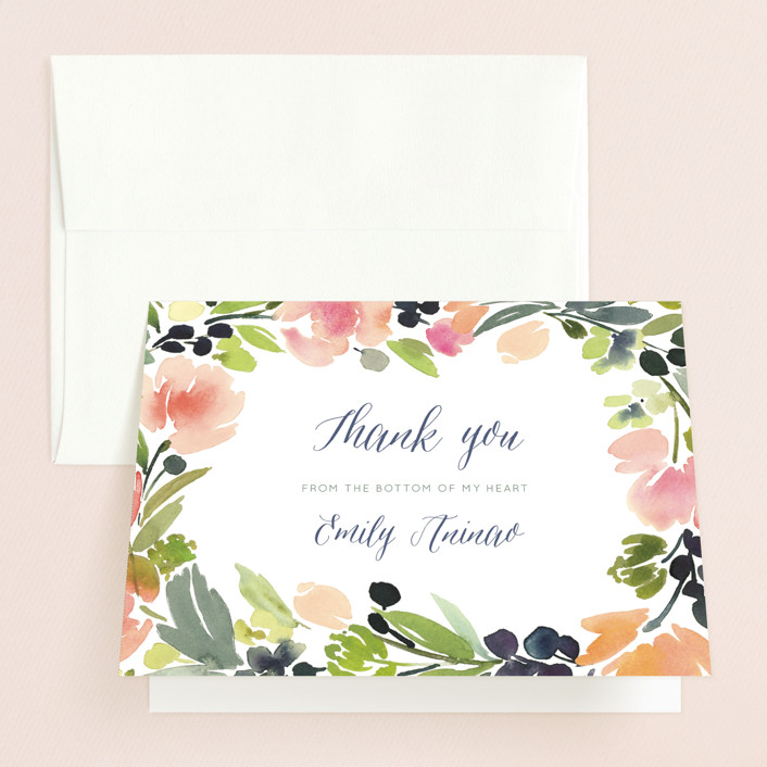 """Watercolor Wreath"" - Bridal Shower Thank You Cards in pink by Yao Cheng Design."