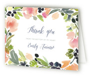 This is a grapefruit bridal shower thank you card by Yao Cheng Design called Watercolor Wreath with standard printing on strathmore in standard.