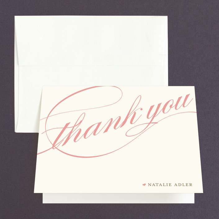"""Winter Flourish"" - Bridal Shower Thank You Cards in pink by annie clark."