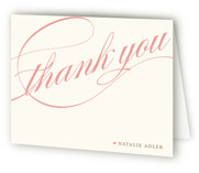 This is a coral bridal shower thank you card by annie clark called Winter Flourish with standard printing on strathmore in standard.