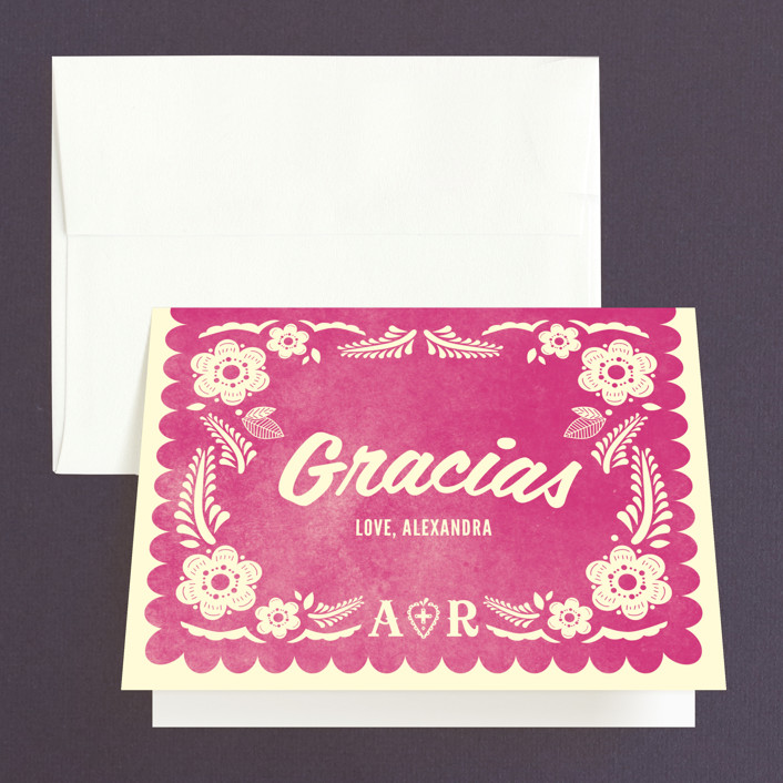 """Papel Picado"" - Bridal Shower Thank You Cards in pink by Andres Montaño."