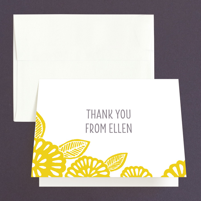 """Bold Block Print"" - Bridal Shower Thank You Cards in yellow by Katharine Watson."
