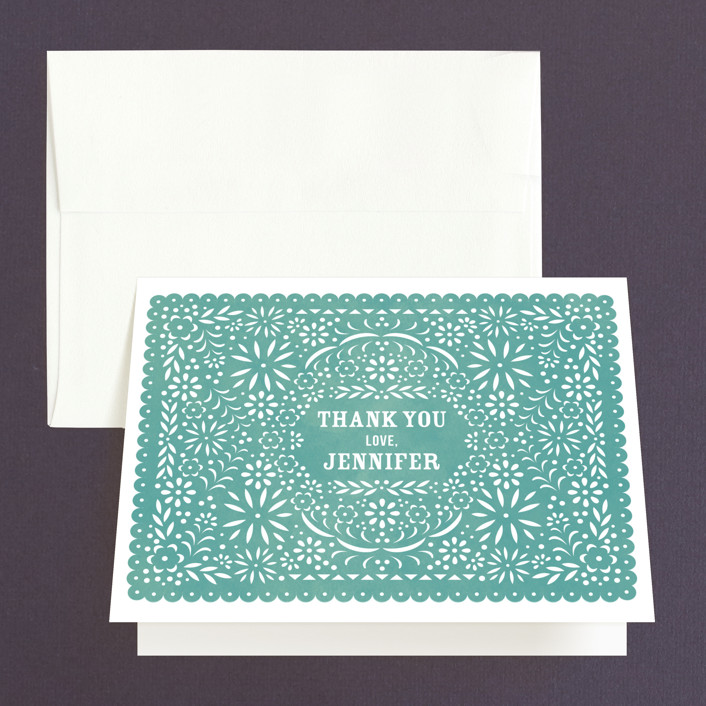 """Fiesta Folk Art"" - Bridal Shower Thank You Cards in blue by root beer float."