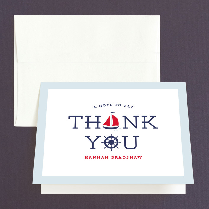 """""""Ahoy"""" - Bridal Shower Thank You Cards in red 