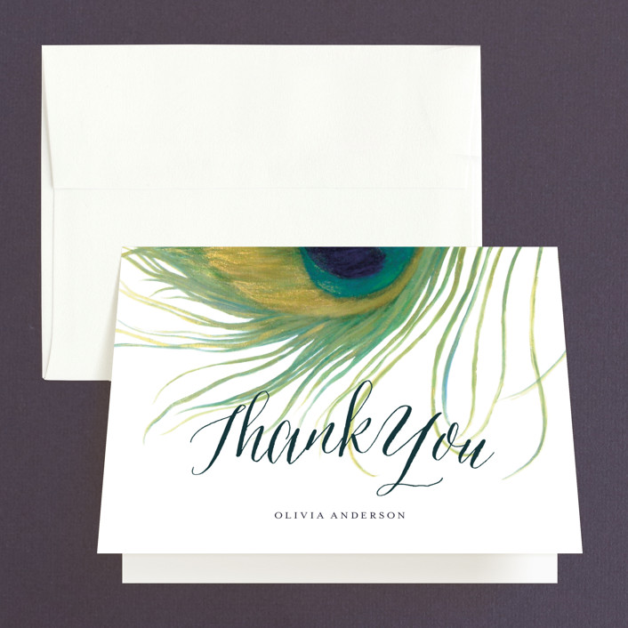 """Peacock"" - Whimsical & Funny, Bohemian Bridal Shower Thank You Cards in green by LChantel."