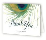 This is a jade bridal shower thank you card by LChantel called Peacock with standard printing on strathmore in standard.