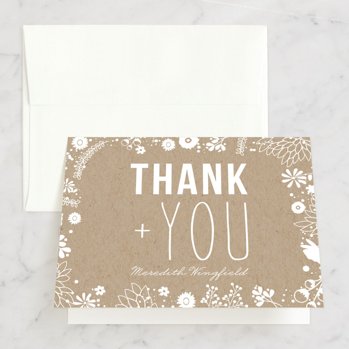 """Craft and Florals"" - Bridal Shower Thank You Cards in brown by Bethany Anderson."