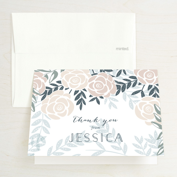 """Fantasy Floral"" - Floral & Botanical Bridal Shower Thank You Cards in Dove by Phrosne Ras."