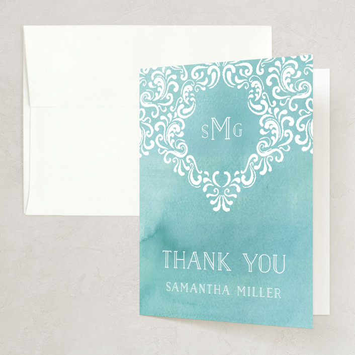 """Wedding Monogram"" - Elegant Bridal Shower Thank You Cards in blue by Chris Griffith."