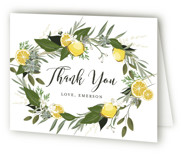 This is a colorful bridal shower thank you card by Susan Moyal called Citrus & Greens with standard printing on strathmore in standard.