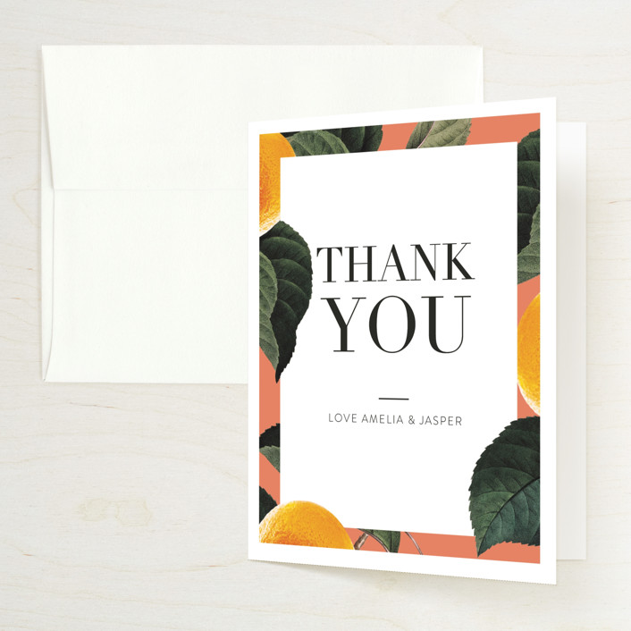 """""""tropical border"""" - Bridal Shower Thank You Cards in Peach by Baumbirdy."""
