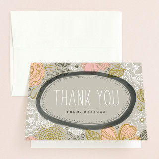 Peony Frame Bridal Shower Thank You Cards