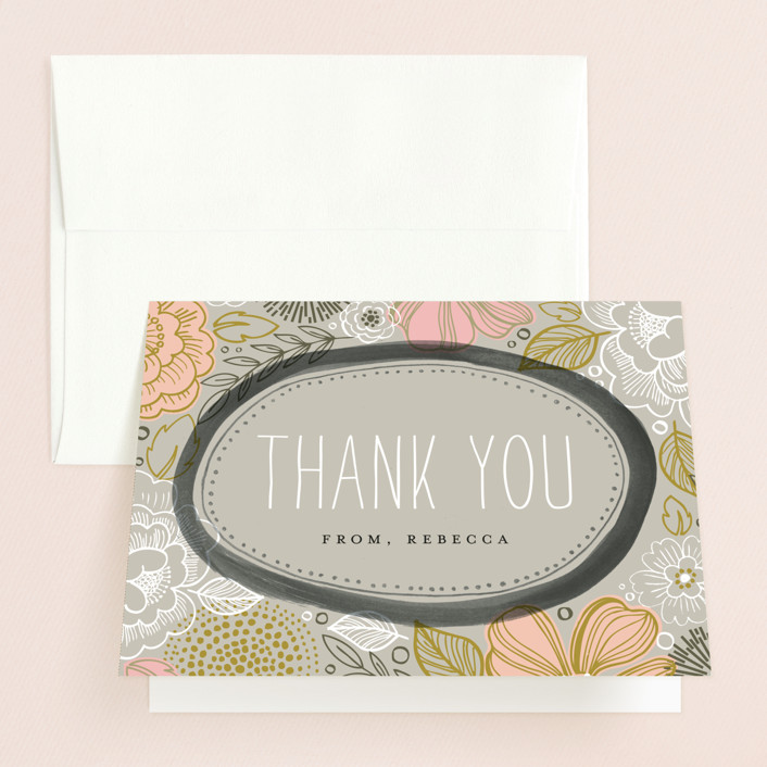 """""""Peony Frame"""" - Bold typographic, Floral & Botanical Bridal Shower Thank You Cards in grey 