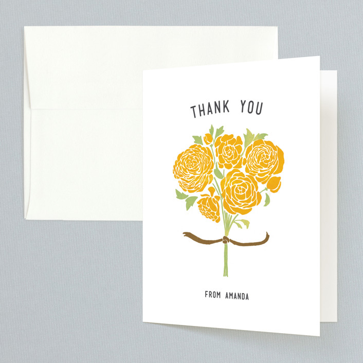 """Raining Peonies"" - Bridal Shower Thank You Cards in yellow by Betty Hatchett."