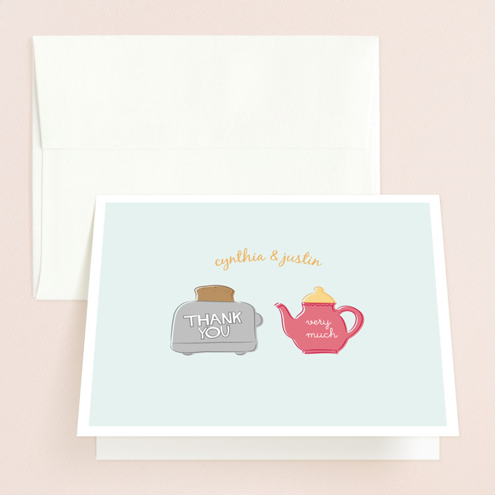 """""""Toast the Happy Couple"""" - Bridal Shower Thank You Cards in blue by Christina Novak."""