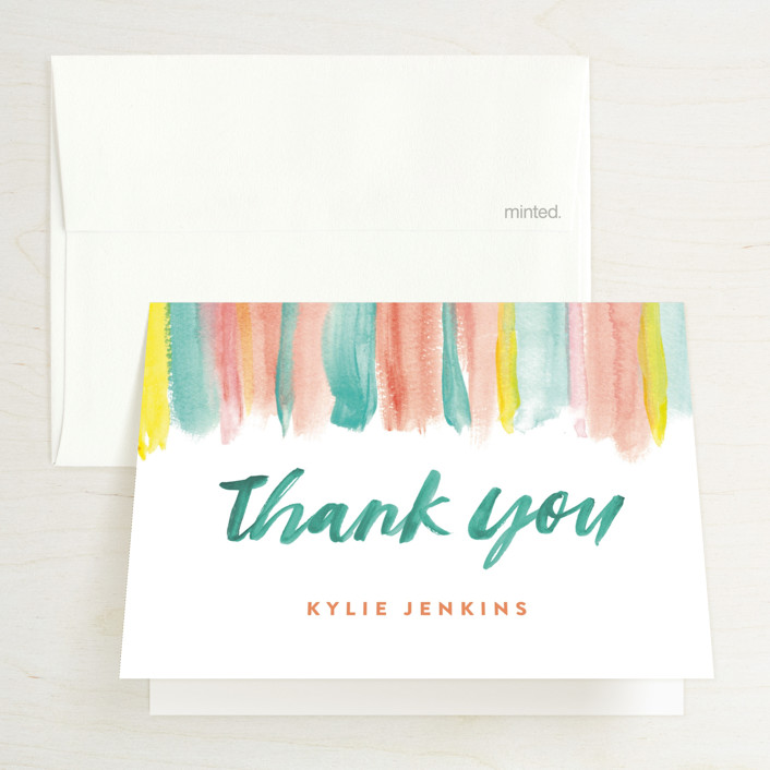 """""""colourful banner"""" - Bridal Shower Thank You Cards in Blossom Cactus by Cass Loh."""