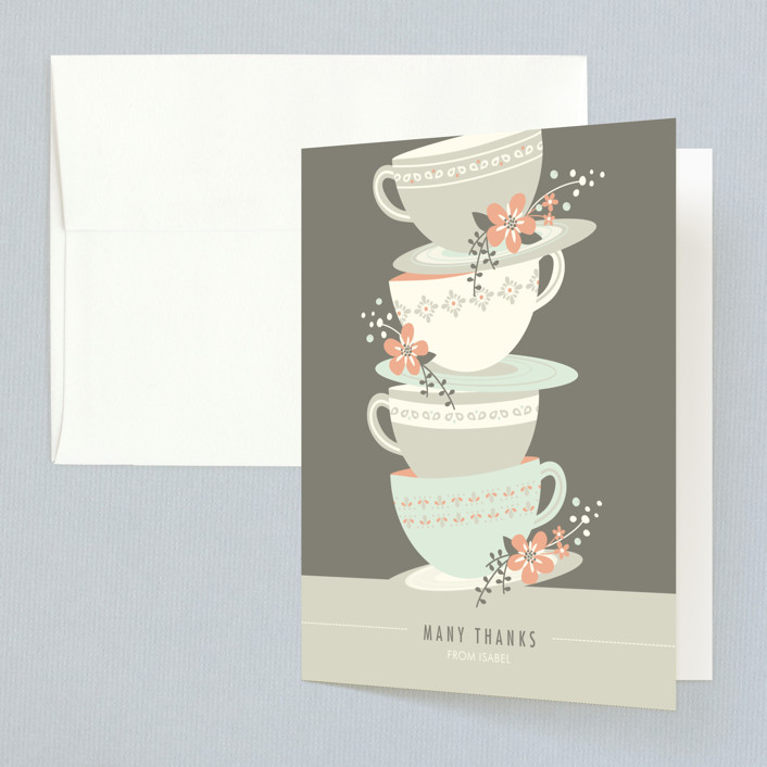 """""""Time for Tea"""" - Bridal Shower Thank You Cards in brown by Angela Marzuki."""